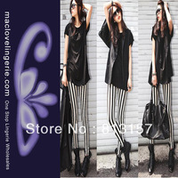 Free Shipping New Arrival Items 2013 Fashion Pantyhose Women ML7615 Black And White Striped Tights