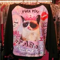 Free Shipping 2014 Autumn t shirt sweatshirt  HARAJUKU crown cat tie-dyeing letter Fuck You sweater hoodies