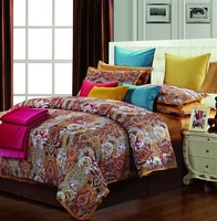 Wholesale of 100% cotton bedding set 500TC cotton  duvet cover flat sheet pillowcase /bed linen/quilt cover suite(HKY95)