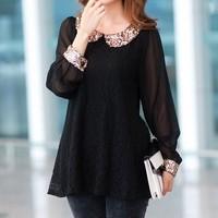 New 2014 spring summer lace chiffon long sleeve shirt doll collar Top Ladies fashion blouse sweatshirt plus size S-XXXL