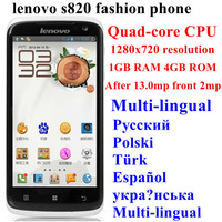 Original Lenovo s820 mobile quad-core CPU 1280x720 resolution  Android 4.2 system supports Russian Polish Spanish language menu