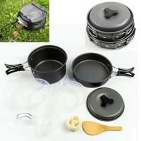 D19Free Shipping 8pcs Outdoor Camping Hiking Cookware Backpacking Cooking Picnic Bowl Pot Pan Set