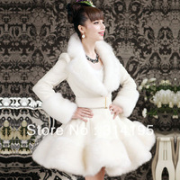 S-XL Free\Drop Shipping 2013 winter white coat artificial rabbit faux fur coat overcoat Wool Blends Coat outerwear B10205