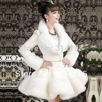 S-XL Free\Drop Shipping 2014 winter white coat artificial rabbit faux fur coat overcoat Wool Blends Coat outerwear B10205