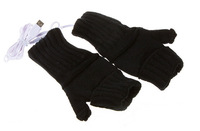 2 Colors Choice Knitting Wool Heated Fingerless USB 2.0 Gloves Hands Warmer for Women Men
