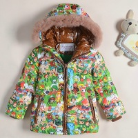 Winter children unisex down coat with natural fur animal printing baby boys girls down padded jacket outerwear for kids GC074