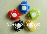 Free Shipping 2013 Newest Android Robot Mini Clip MP3 Player  / 2 pcs Music Player Robot Mp3 ( no Earphone, Usb Cable, TF Card )