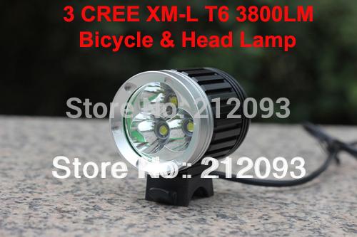 3800LM 3x CREE XML XM-L T6 LED Bicycle Bike Head Light Lamp Cycling Free Shipping(China (Mainland))