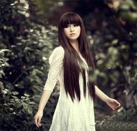 Wig long fluffy long straight hair qi girls bangs repair elegant black light  dark brown wigs free shipping w34