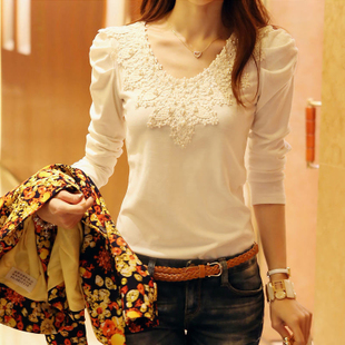 2014 brand autumn spring new women's casual shirt lace tops cute elegant long sleeves blouses(China (Mainland))