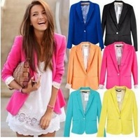 2013 Top Womens Suit Tunic Foldable sleeve Blazer Jacket candy Color lined striped one button shawl cardigan Coat Plus Size