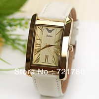 2013 New Fashion Genuine Leather Strap Quartz Watch Korea Design Rectangle Waterproof Watch Julius Brand Women's Watch for Gift