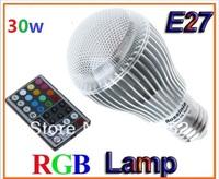 5x HOT AC85-265V 30W Dazzle colour RGB led lighting Colorful LED Bulb Lamp Spot light with Remote Contro Freeshippingl