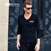viishow2013 Autumn new long-sleeved T -shirt men Slim minimalist style V-neck T-shirt men's fashion tide