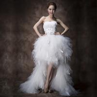 2013 tube top wedding dress rhinestone low-high feather wedding dress white vintage short trailing bride dress