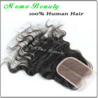 "Virgin brazilian hair lace top closures 3.5x4""swiss lace closure bleached knots body wave hair ,Free shipping"