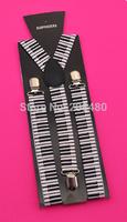 "Free shipping-2.5cm/1inch wide""Piano Key Board""Pattern Suspender Unisex Clip-on Braces Elastic Slim Suspender Y- back Suspenders"