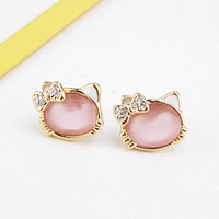 Brincos ks bijoux 18k gold plated stud earrings for women for HELLO KITTY girl's jewelry HE7597