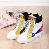 NEW women Genuine leather GZ platform inside heel wedge sneakers for women and sport canvas shoes women boots