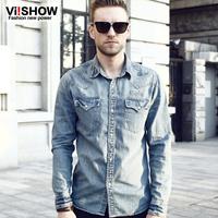 viishow autumn long-sleeved denim shirt tide male Korean men's denim shirt Slim Denim Shirt Long Shirt