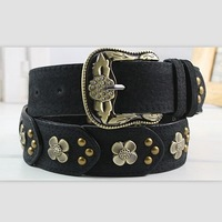 New Women's Vintage Genuine Leather Belt Rhinestone And Rivet Decoration Waistband Free Shipping
