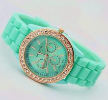 2013 Hot Sell! luxury Fashion Goods Lady Brand GENEVA Rose Gold Quartz Silicone Jelly Watches,Free Shipping Dropshipping(China (Mainland))