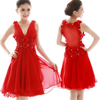 Cii short red halter  bridesmaid  bridal  toast cheongsam dress engagement