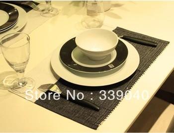 Diagonal black and white minimalist modern table linen cloth European table mat mat table napkins paper   cotton handmade hook