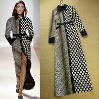 2013 To 2014 European fashion leopard print polka dot color block decoration turn-down collar casual elegant full  dress women