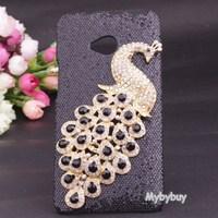 Handmade 3D Diamond Bling Peacock Case Cover For HTC ONE M7.