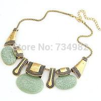 Hot Sale 2014 New Imitation Turquoise temperament metal button resin stone Necklace Fashion Pendants Necklace wholesale