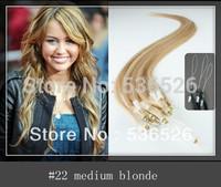 Peruvian straight hair Micro Loop Ring Human Hair Extensions 1g/strand  #22 Medium Blonde queen hair products