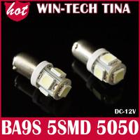 Free shipping 4pcs LED Car Indicators Light Interior Bulbs Wedge Lamp BA9S 5SMD 5050