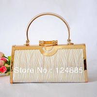 New Arrival Lady's Wedding Handbags Water Wave Sequined Pouch Purse Metal Gold Plate  Hasp Rectangle Evening Bags 81139