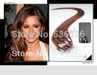 micro bead hair extensions Human Hair Loop Ring Human Hair Extensions  1g/strand 100 shares #33 Dark Auburn Brown