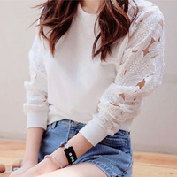 C12*Women Autumn White Embroidered Lace Hollow Out  Long Sleeve Sweatshirt Pullovers Sport Suit Hoody Casual Tops Fleece hoodies