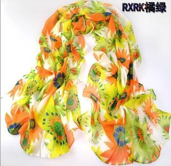 1PC 70*160cm New Design Happy blooming sun flower printed long chiffon silk scarf WJ-010