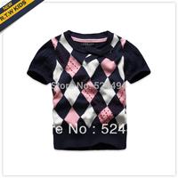 Free Shipping rtw 2013 autumn female child color block decoration short-sleeve plaid vest rkgm31192l