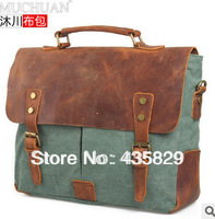 2013 New Arrival : fashion Genuine leather canvas cotton vintage shouler casual handbags