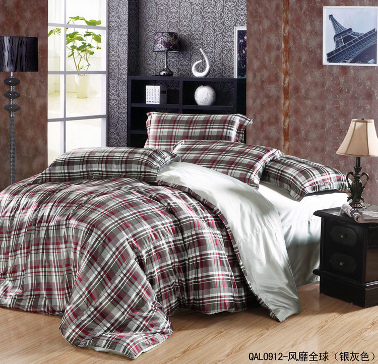 Cheap Chinese Silk Comforter Set Queen/King,Fashion Plaid Bedding Set ...