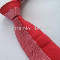 Yibei Coachella Ties Unique Red & pink Silver Grids Checkers Jacquard Necktie Gravata Formal Neck tie For Men dress Party