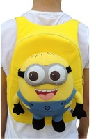 20131pcs Despicable ME Minions Toy 3D eye Jorge Stewart Dave with tags soft  Schoolbag Plush Backpacks gift 32cm