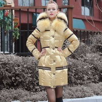 Luxury Designer Italy Brand Down Women's winter Coat  large fox fur sheepskin pure slim women medium-long  coat female
