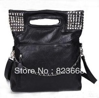 Punk rivet chain k handbag shoulder bag casual handbag women's PU r big bags free shipping