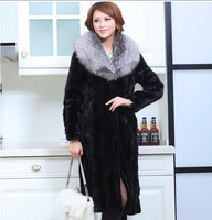 Hot sale high quality ultra long black 100%  Real mink fur coat  with a very very big  fox fur collar plus size