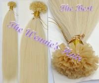 Wennie's Best Quality 613# Keratin U-tip Nail Hair 100% Brazilian Remy Human Hair Extension 22'' Blonde 1g/s 100g/pac Free Ship