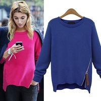 2014 AUTUMN CASUAL SWEATER WOMEN KNITTED SWEATER WITH ZIPPER BACK SWT090