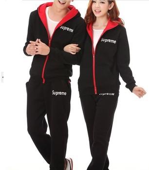 Couple Clothes Casual Clothing Set Hoodies Sweat Suits 2013 Cotton Tracksuits Plus Size Contrast Sportswear Autumn XXXL AW13S002