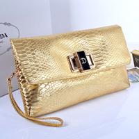 2014 Women's Handbag Fashion Envelope Clutch Bag Sweet Patent Leather Small Crocodile Pattern Bags Women Messenger Bag