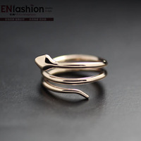 18KGP fashion snake ring women finger ring wedding ring 316L stainless steel jewelry wholesale free shipping